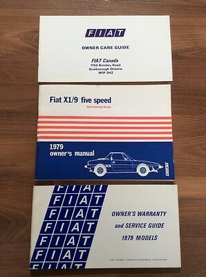 FIAT X1/9 X19 Owners manual PLUS Fiat Warranty and Service Guide PLUS Care guide