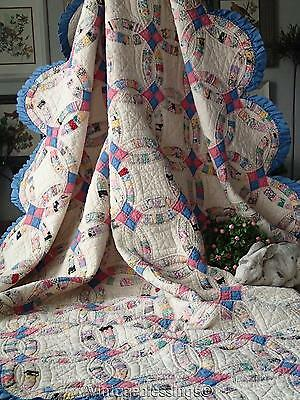 """Perfect Cottage Charm! Vintage 30s Blue TINY PIECES Wedding Ring QUILT 81x73"""""""