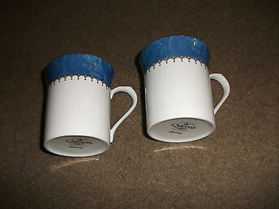2 Queen's China Mugs-Symphony With Blue/gold Design Design-White-Appear Unused