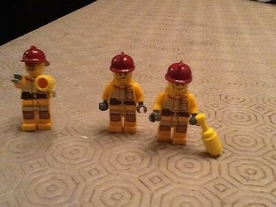 LEGO 3x FIRE FIGHTERS minifigures