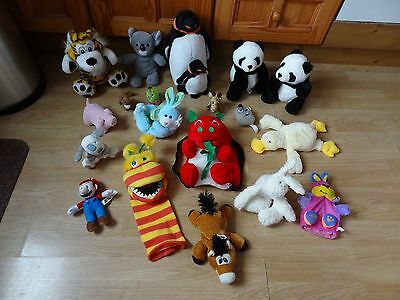 Bundle 19 x Assorted Plush Soft Toys 13 ins High max - inc Penguins,Tiger,Pandas