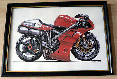 Ducati Motorcycles 916 or 996 Framed Prints  A4 Caricature Gift Present
