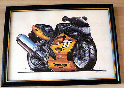 Triumph Motorcycles Various Models Framed Prints  A4 Caricature Gift Present