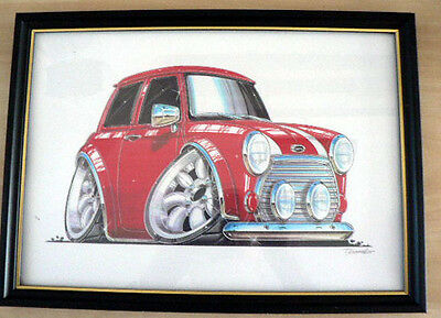 Mini Cooper in Various Colours  Framed Print A4 Caricature  Gift Present