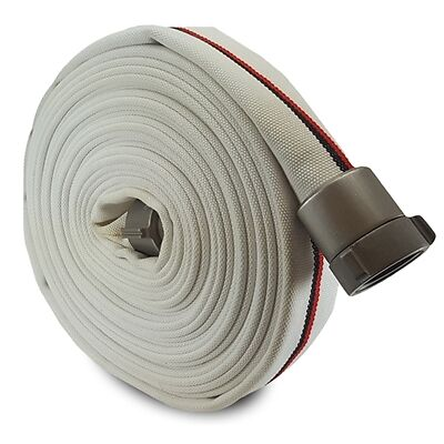 "White 1.5"" x 50' Single Jacket Mill Hose (Alum NH Couplings)"