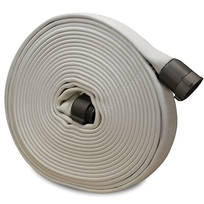 """White 1"""" x 100' Forestry Hose (Alum NH Couplings)"""