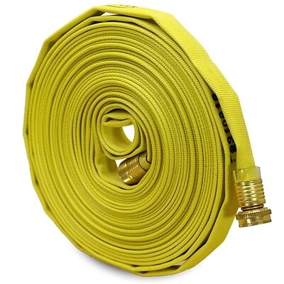 "Yellow 5/8"" x 50' Forestry Hose (Brass Garden Hose Couplings)"