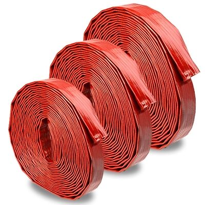 "Red 1.5"" x 50' Medium-Duty Uncoupled Discharge Hose"
