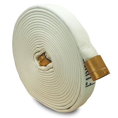 """White 1.5"""" x 50' Double Jacket Fire Hose (Brass NH Couplings)"""