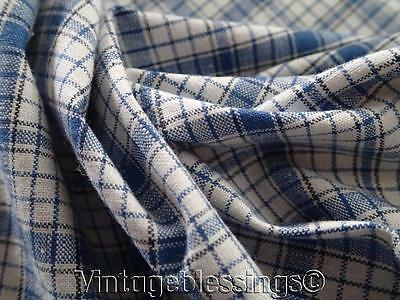 Blue Checked ANTIQUE FRENCH LINEN Fabric 33x31 Make Pillows