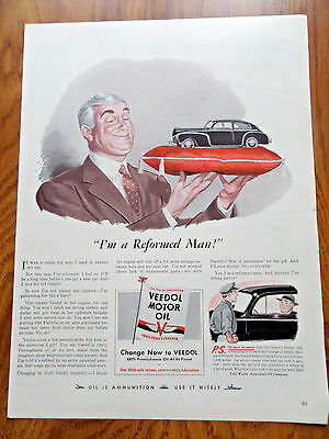 1942 Veedol Motor Oil Ad Ford Chevy Plymouth ?