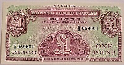 British Armed Forces one pound military voucher uncirculated, 4th series note