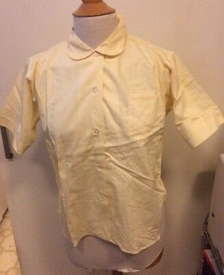 Vintage dead stock 1950/1960s yellow short sleeve cotton blouse-size 34