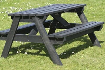 SET OF 3 BLACK 1200mm LONG ADULT PICNIC TABLE-100% RECYCLED PLASTIC-