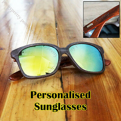 Personalised Engraving Walnut Wood Mirrored Sunglasses Groomsmen Birthday Gift r