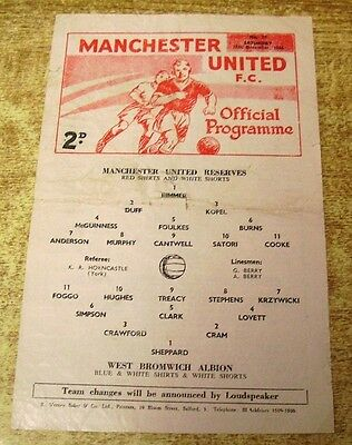 1966/67 CENTRAL LEAGUE - MANCHESTER UNITED RESERVES v WEST BROMWICH ALBION