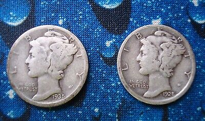 Two Rarer MERCURY Dimes, 1935-D and 1928-D, Circulated and Uncertified