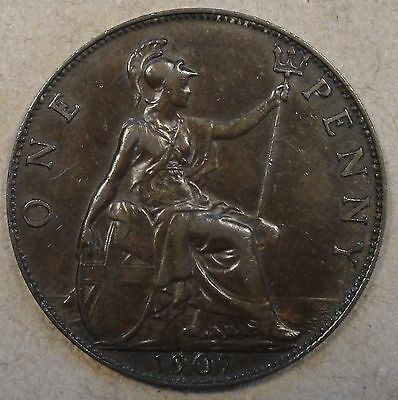 Great Britain 1907 Penny Better Circulated Grade Coin