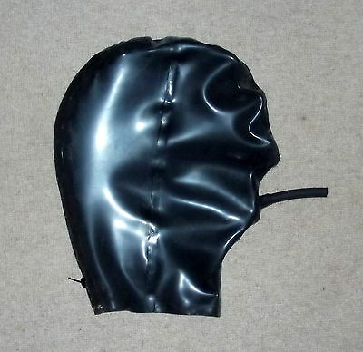 Latex Rubber Quality Fitted PIPE Hood 0.5mm  BLACK Rear zip  S - XL Brand New