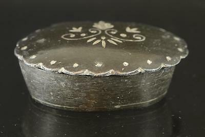 Antique Indian Bidri Ware Silver Inlaid Steel Box C1920