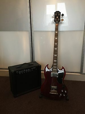 Epiphone SG Bass Guitar (Cherry) With Amp