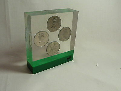 Set of 4 Queen Elizabeth Crown Coins Embedded in Clear Resin Display Block