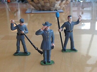 """3 MARX U.S. issue Confederate """"Soldiers of the World"""" 1/32 scale Figures"""
