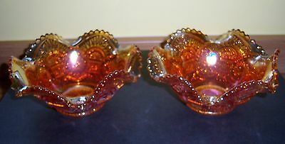 Vintage Amber/marigold Carnival Glass Dishes X 2