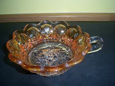 Vintage Amber/marigold Small Carnival Glass Dish With Handle