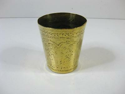 vintage lovely engraved brass drinking cup, beaker, stirrup cup unusual markings