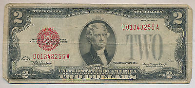 1928-D Red Seal $2 U.s. Note **nice Circulated U.s. Note** Free Shipping!