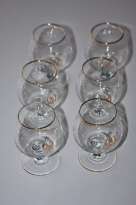 Set of 6 small vintage monogrammed Napoleon brandy glasses - retro home bar