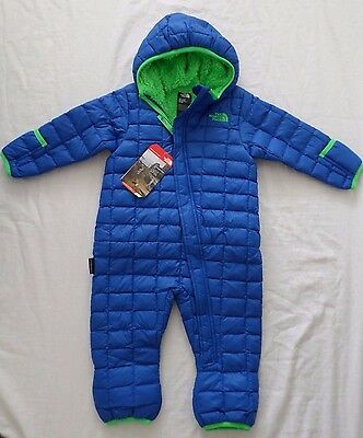 New The North Face Kids Infant Boys Thermoball Fleece One Piece Bunting 3-6month