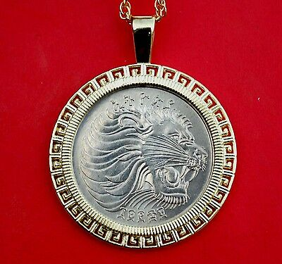 1977 Ethiopia 50 Cents Lion Head BU UNC Wildlife Coin Gold Plated Necklace New