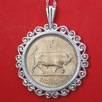 1968 Irish Ireland 1 Shilling Bull BU Coin Solid Sterling Silver Necklace NEW