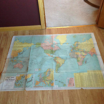 LOT 2 VINTAGE Antique LARGE PRINT MAPS UNITED STATES WORLD GROSS GEOGRAPHIA CO