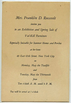 Invitation card from Mrs Franklin Roosevelt Exhibition & Sale Val-Kill Furniture