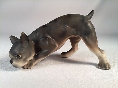 Vintage Ceramic Figurine Of A Boston Terrier Dog In Sniffing Pose, Matte Finish
