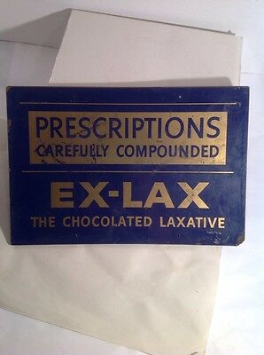 "Vintage 1940's Prescriptions Ex-Lax Chocolate Laxative Drug Store 15"" Sign"