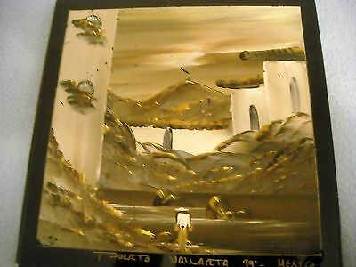 "Mexican handpainted  signed tile ~8"" x 8""  raised paint lots GOLD nice"