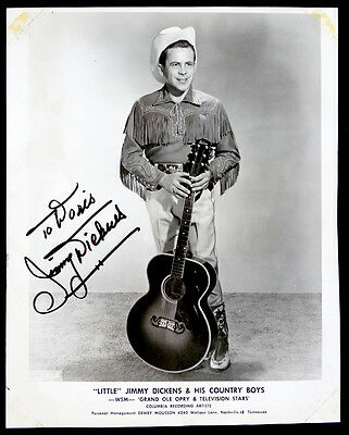 VERY YOUNG Vintage LITTLE JIMMY DICKENS Photo SIGNED Grand Ole Opry AUTOGRAPH