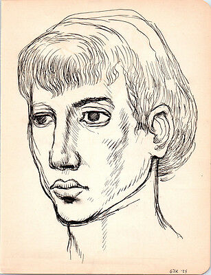 1950s ANDROGYNOUS PORTRAIT Vintage ART Drawing MID-CENTURY MODERN Eames GAY INT.