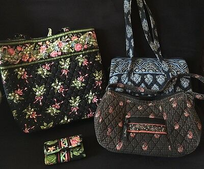 Vera Bradley  lot of 4- handbags, tote and wallet EUC
