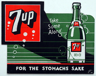 1930's Vintage 7UP Cardboard Stand-Up ADVERTISING SIGN / UNUSUAL BOTTLE DESIGN