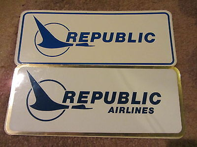 Republic Airlines 2 X Stickers Brand New Mint Rare