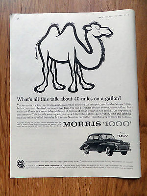 1960 BMC British Motor Morris 1000 Ad  About 40 Miles on a Gallon?  Camel
