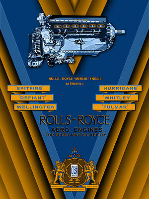 "12"" X16"" Reproduced Rolls Royce Aero Engines ""Merlin"" Canvas Banner"
