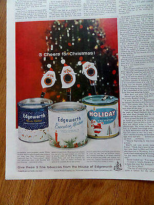 1959 Edgeworth Pipe Tobacco Ad  3 Cheers for Christmas