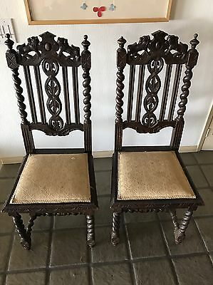 2 Antique Renaissance Revival Carved Oak Barley Twist & Cane Chairs