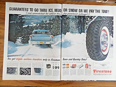 1958 Firestone Tire Ad Ford Chevy Chrysler Pontic Cadillac Buick ?